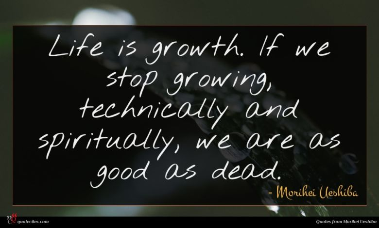 Life is growth. If we stop growing, technically and spiritually, we are as good as dead.