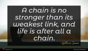William James quote : A chain is no ...