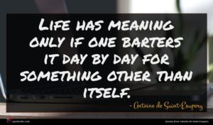 Antoine de Saint-Exupery quote : Life has meaning only ...