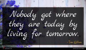 Tom Wilson quote : Nobody got where they ...