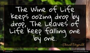 Edward Fitzgerald quote : The Wine of Life ...
