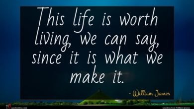 Photo of William James quote : This life is worth …