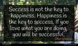 Albert Schweitzer quote : Success is not the ...