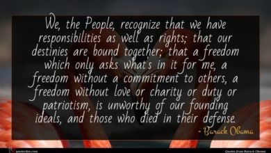Photo of Barack Obama quote : We the People recognize …