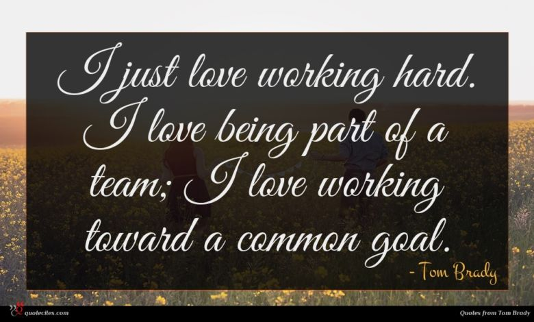 Photo of Tom Brady quote : I just love working …