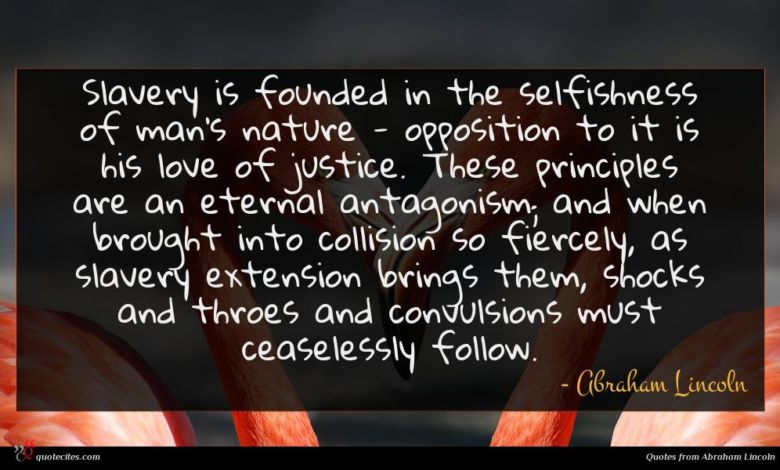 Photo of Abraham Lincoln quote : Slavery is founded in …