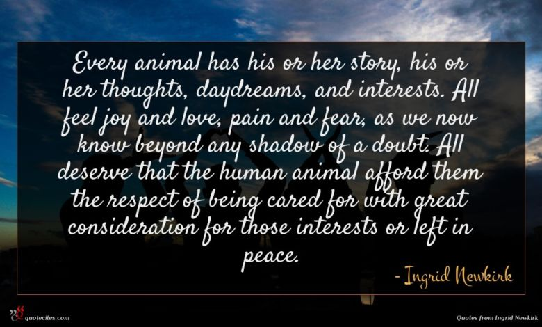 Every animal has his or her story, his or her thoughts, daydreams, and interests. All feel joy and love, pain and fear, as we now know beyond any shadow of a doubt. All deserve that the human animal afford them the respect of being cared for with great consideration for those interests or left in peace.