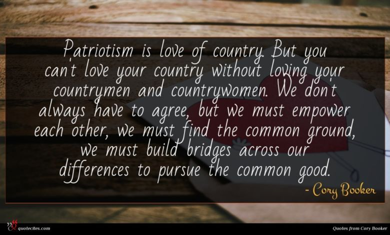 Patriotism is love of country. But you can't love your country without loving your countrymen and countrywomen. We don't always have to agree, but we must empower each other, we must find the common ground, we must build bridges across our differences to pursue the common good.