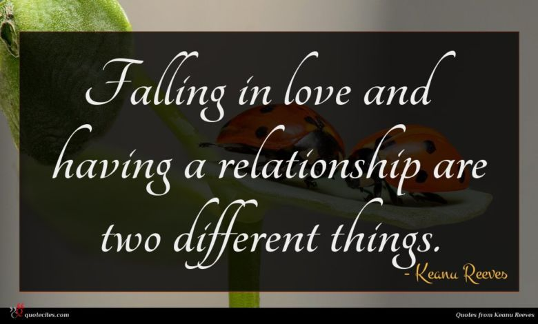Falling in love and having a relationship are two different things.