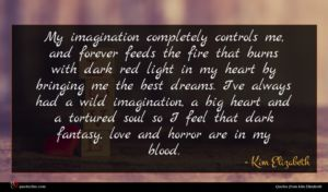 Kim Elizabeth quote : My imagination completely controls ...