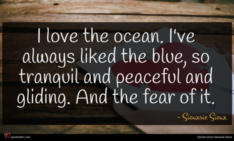 Photo of Siouxsie Sioux quote : I love the ocean …