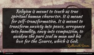 Radhanath Swami quote : Religion is meant to ...