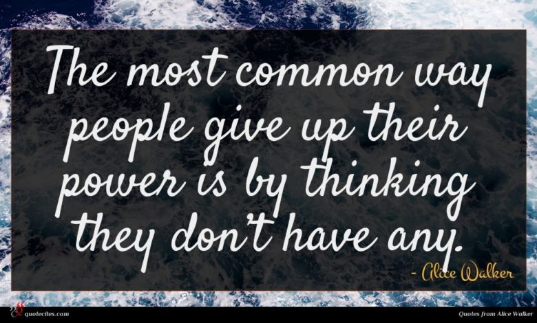 The most common way people give up their power is by thinking they don't have any.