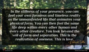 Eckhart Tolle quote : In the stillness of ...