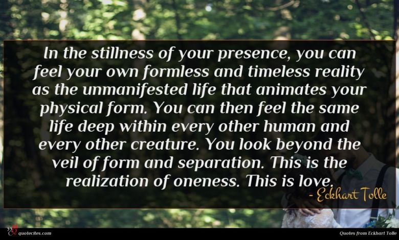 Photo of Eckhart Tolle quote : In the stillness of …
