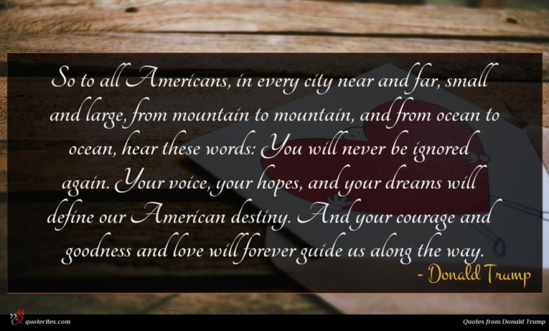 So to all Americans, in every city near and far, small and large, from mountain to mountain, and from ocean to ocean, hear these words: You will never be ignored again. Your voice, your hopes, and your dreams will define our American destiny. And your courage and goodness and love will forever guide us along the way.
