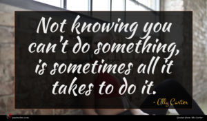 Ally Carter quote : Not knowing you can't ...