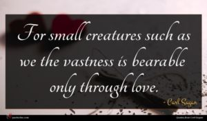 Carl Sagan quote : For small creatures such ...
