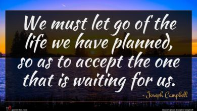 Photo of Joseph Campbell quote : We must let go …