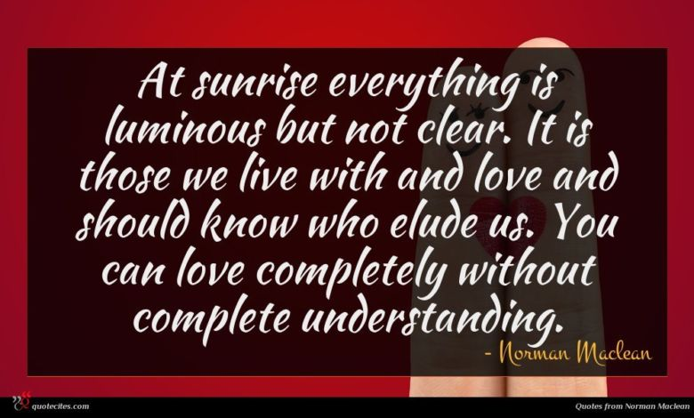 At sunrise everything is luminous but not clear. It is those we live with and love and should know who elude us. You can love completely without complete understanding.