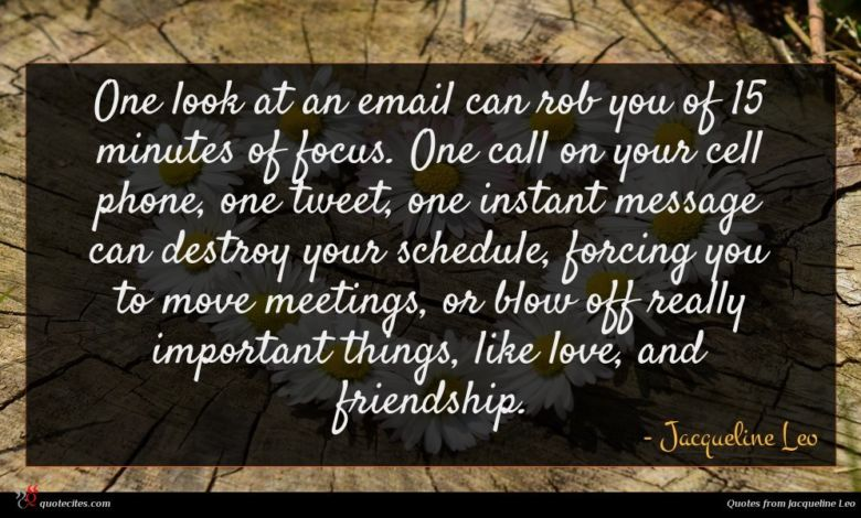 One look at an email can rob you of 15 minutes of focus. One call on your cell phone, one tweet, one instant message can destroy your schedule, forcing you to move meetings, or blow off really important things, like love, and friendship.