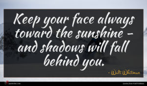 Walt Whitman quote : Keep your face always ...