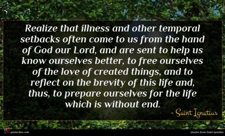 Photo of Saint Ignatius quote : Realize that illness and …