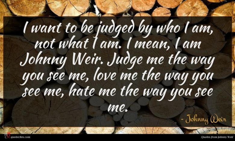 I want to be judged by who I am, not what I am. I mean, I am Johnny Weir. Judge me the way you see me, love me the way you see me, hate me the way you see me.