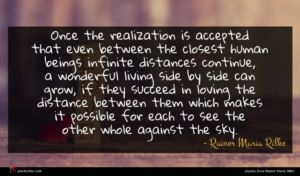 Rainer Maria Rilke quote : Once the realization is ...