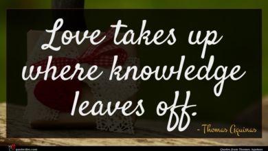 Photo of Thomas Aquinas quote : Love takes up where …