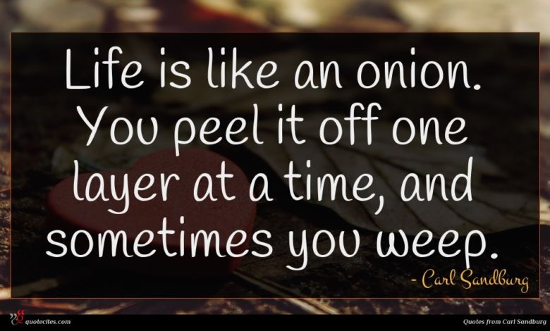Life is like an onion. You peel it off one layer at a time, and sometimes you weep.