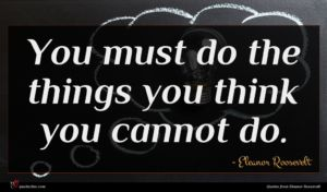 Eleanor Roosevelt quote : You must do the ...