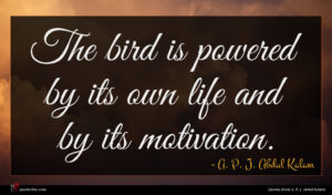 A. P. J. Abdul Kalam quote : The bird is powered ...