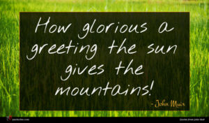 John Muir quote : How glorious a greeting ...