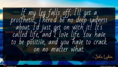 Photo of John Lydon quote : If my leg falls …