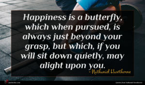 Nathaniel Hawthorne quote : Happiness is a butterfly ...