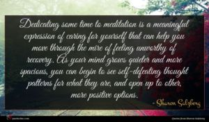 Sharon Salzberg quote : Dedicating some time to ...