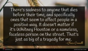 Chris Cornell quote : There's sadness to anyone ...