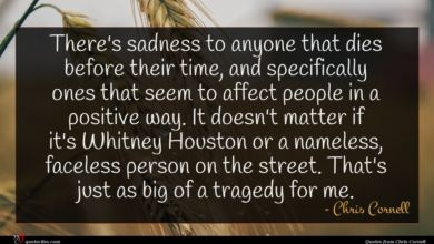 Photo of Chris Cornell quote : There's sadness to anyone …