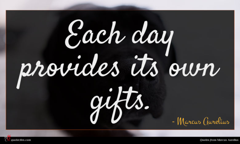 Each day provides its own gifts.