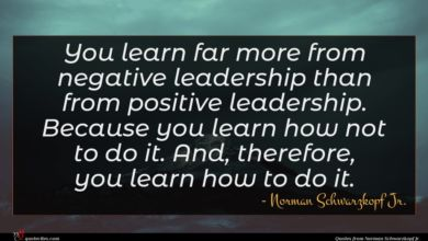 Photo of Norman Schwarzkopf Jr. quote : You learn far more …