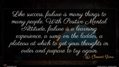 Photo of W. Clement Stone quote : Like success failure is …