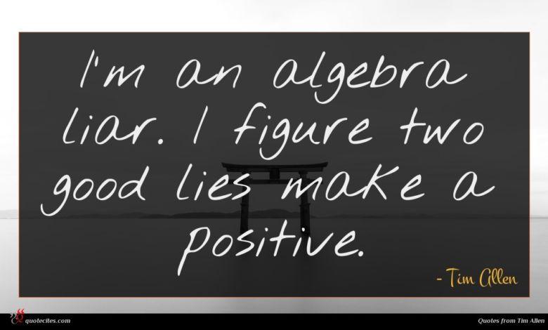 I'm an algebra liar. I figure two good lies make a positive.