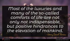 Henry David Thoreau quote : Most of the luxuries ...