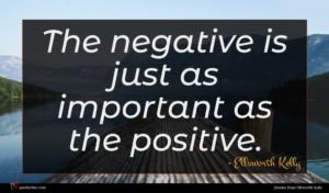 Ellsworth Kelly quote : The negative is just ...
