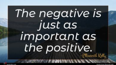 Photo of Ellsworth Kelly quote : The negative is just …