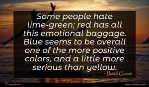 David Carson quote : Some people hate lime-green ...