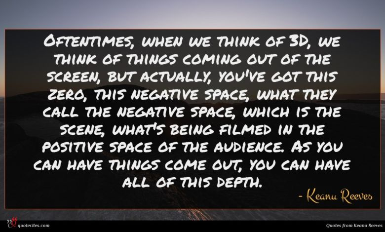 Oftentimes, when we think of 3D, we think of things coming out of the screen, but actually, you've got this zero, this negative space, what they call the negative space, which is the scene, what's being filmed in the positive space of the audience. As you can have things come out, you can have all of this depth.