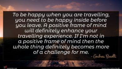 Photo of Andrea Bocelli quote : To be happy when …