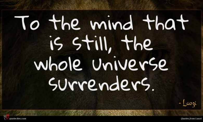 To the mind that is still, the whole universe surrenders.